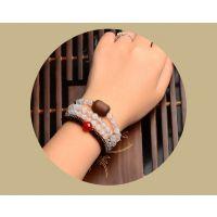 蓝腾创古风手链创意珠珠原创设计,多层多圈特色石头玛瑙木质项链