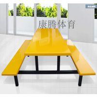 供应珠海休闲时尚的快餐桌 6人位连体餐桌椅 玻璃钢餐饮家具批发厂家康腾体育