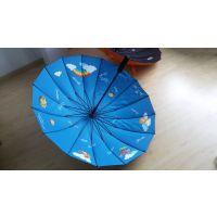供应23寸X16骨雨伞 黑色16骨广告伞长柄伞 高档16片纤维骨广告雨伞
