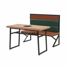 中式火锅店人造石桌子和皮制软包沙发组合
