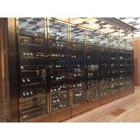 拉丝不锈钢红酒柜 现代中式不锈钢红酒展示柜