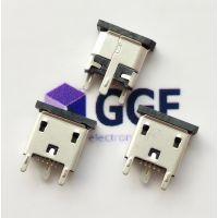 V8/MICRO立贴/立插母座—麦克5P贴片USB母座(3个插脚+针SMT)带防尘塞
