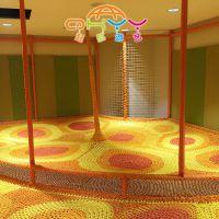 起航游艺绳网蹦床,彩虹绳网游乐设备,室内儿童乐园手工编织彩虹网