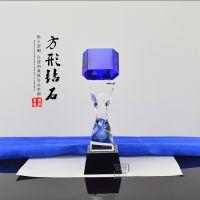 闪亮蓝色钻石水晶奖杯 方形钻石 优秀员工奖杯 年会激励奖品定制