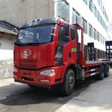 2字头挖机拖车常用平板运输车解放J6后八轮挖机平板价格是多少