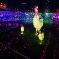 2.5米高3D鸡造型灯 LED灯串装饰灯 灯光节地插玫瑰花