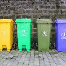 街道240升塑料环卫脚踏带盖垃圾筒 重庆垃圾桶厂家批发