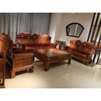红木家具刺猬紫檀鸿运中奔沙发中号123六件套