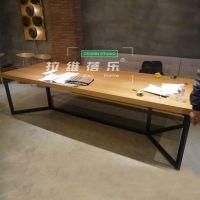 星巴克咖啡美式复古铁艺实木长桌星巴克铁艺桌椅定做