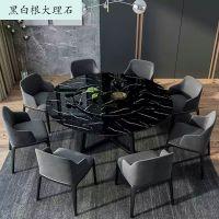 北欧大理石实木圆形餐桌椅组合吃饭桌子圆桌带转盘家用可旋转定制