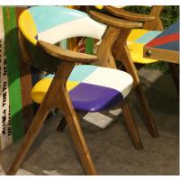 倍斯特简约现代拼色复古实木餐椅创意中餐奶茶甜品厂家定制