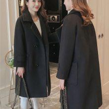 2018秋冬季新款韩版女装毛呢外套山东显瘦修身中长款长袖呢子大衣女
