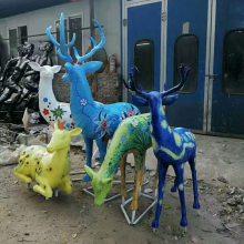 动物雕塑玻璃钢仿铜价格 广州玻璃钢圆雕动物鹿 欧式花园景观雕塑摆件
