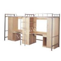 员工上下床单人床学生单人床带办公桌椅 铁架床加厚拆装简易床架厂家批发定做