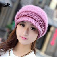 批发加绒保暖 韩版女士兔毛帽秋冬款针织帽毛线帽韩国冬季帽子