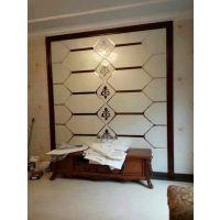 乌鲁木齐厂家定制 夹丝白底金玉满堂加镜条 大块平铺玻璃背景墙