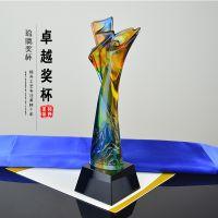 企业30周年庆数字奖杯 琉璃奖杯厂家定制一个起 色彩流云