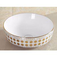 陶瓷碗形金色高档台上洗手盆洗面池