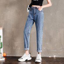 江苏南京牛仔裤批发在哪里 厂家一手货源韩版时尚便宜高腰小脚牛仔裤