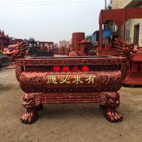 供应铸铁长方形平口双龙耳香炉江苏盐城香炉厂家