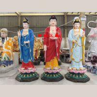 供应树脂彩绘西方三圣像阿弥陀佛大势至观音玻璃钢站像