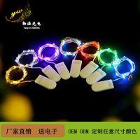 厂家现货CR2032纽扣电池盒铜线灯串鲜花蛋糕装饰银丝彩灯串灯批发