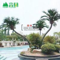批发销售特型S形组合仿真椰子树玻璃钢弯曲椰子树热带景观创意树
