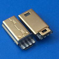 镀金MINI USB 5PIN公头/前五后四/焊线式插头