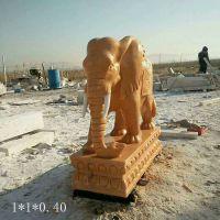 石雕大象 晚霞红石雕象 开业礼品雕塑
