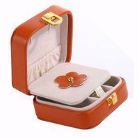 亚马逊热销便携随身首饰盒韩国耳环饰品小包装收纳盒pu袖扣盒绒布