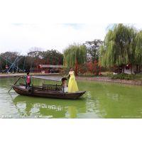 兴化殿宝木船 5米婚礼船 摄影装饰船 摇撸船 仿古游乐木船 观光手划船图片价格