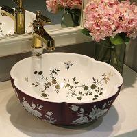 台上盆洗脸盆陶瓷圆形方形卫生间现代简约面盆家用台上洗手盆小号