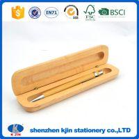 KJIN外贸低价促销 高档按动枫木圆珠笔赠送小笔盒 办公商务文具可定做