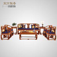 东方莉香 缅甸花梨皇宫椅新中式红木沙发组合