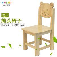 【幼儿园椅子】山东厚朴 幼儿园实木椅子 儿童熊猫头小凳子厂家直销