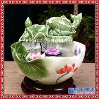 陶瓷喷泉雾化加湿器摆件 客厅水景风水轮招财鱼缸桌面装饰