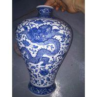手绘青花瓷赏瓶 德镇陶瓷器手绘青花瓷花瓶插花中式家居客厅装饰品工艺摆件