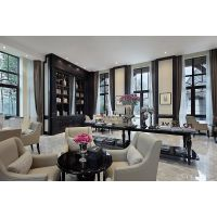 现代简约卡其色皮艺软包三人位沙发会所售楼处大堂家具定做 样板房家具定制