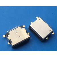 苹果沉板USB母座10P沉板2.4mm贴片 四脚插板SMT L=7.9