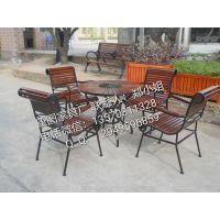 康图批发户外庭院实木家具桌椅 咖啡厅铁艺餐桌椅茶几五件套