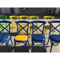 美式餐椅复古主题餐厅凳子欧式创意铁艺酒店椅做旧美甲靠背椅子