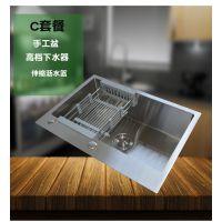 广东顺德祺祥居品牌加厚进口SUS304不锈钢手工水槽单槽单盆厨房整体橱柜洗菜盆