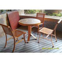 温州带伞套桌椅组合 步行街咖啡厅 休闲套桌椅(伞另配)—振兴