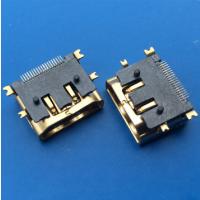 镀金/HDMI母座19P 四脚鱼叉贴板 带固定柱 铜壳 PCB-创粤