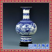 景德镇陶瓷仿古青花瓷花瓶插花摆件中式客厅装饰品家居工艺品