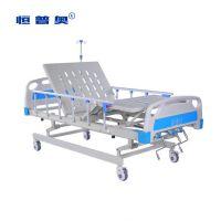 恒普奥品质不锈钢摇柄可升降病床 三功能整体升降病床 icu病床 手动三功能护理床