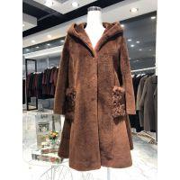 女装冬装货源 艾圣依羊剪绒大衣外套品牌折扣批发 厂家直销
