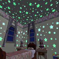 外贸爆款3CM夜光星星墙贴100pcs/包卧室沙发荧光塑料PVC贴纸