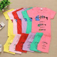 夏季新款卡通印花童套装T恤 韩版童装短袖套装特价批发 ***新款厂家货源