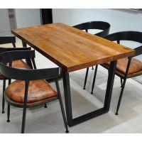 海德利 美式乡村 餐桌椅组合复古牛角椅子餐桌咖啡厅西餐厅休闲家用铁艺桌子